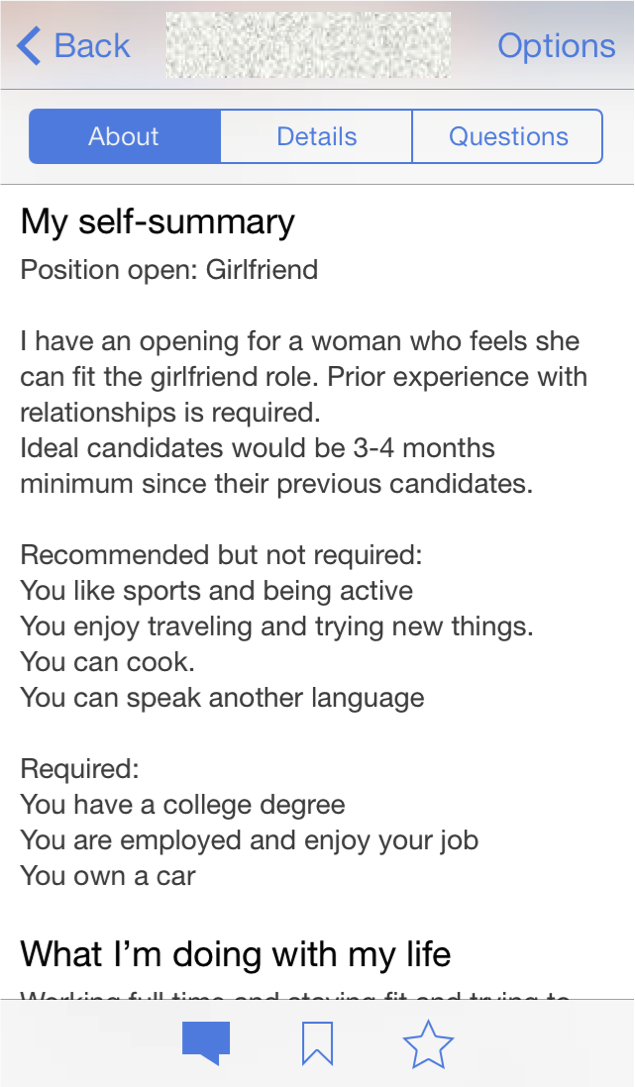Guy makes dating resume